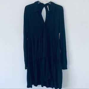 Free People Small Black Boho Tiered Collared dress
